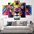 XrsArt 5 Piece Free shipping Original Animal Oil painting pictures Art print on the canvas, wall decor, Home wall art picture,color, Lion king (Unframed) Unframed FCa15 50 inch x30 inch