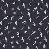 Fabulous Fabrics Jacquard Lurex Irina Schwalben – dunkelgrau — Meterware ab 0,5m — zum Nähen von Jacken und Mänteln, Hosen und Kleidern