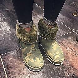 NSXZ la personalidad de camuflaje en botas de nieve de las mujeres del tubo más gruesa de terciopelo nuevos modelos de botas de las mujeres casuales de la moda de la marea de invierno cálido , 120W
