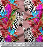 Soimoi Rosa Baumwolljersey Stoff Tropische Blätter & Zebra