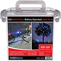 WeRChristmas Outdoor Battery Operated Multi-Function LED Lights with Timer, 20 m - 200-LED, Multi-Colour