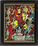 Pyramid International Iron Man 10x8 Gerahmtes 3D Poster, PET und Tinte Wird der Rahmen aus PS, Mehrfarbig, 29 x 25 x 5 cm