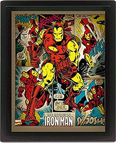 Pyramid International Iron Man 10x8 Gerahmtes 3D Poster, PET und Tinte Wird der Rahmen aus PS, Mehrfarbig 29 x 25 x 5 cm