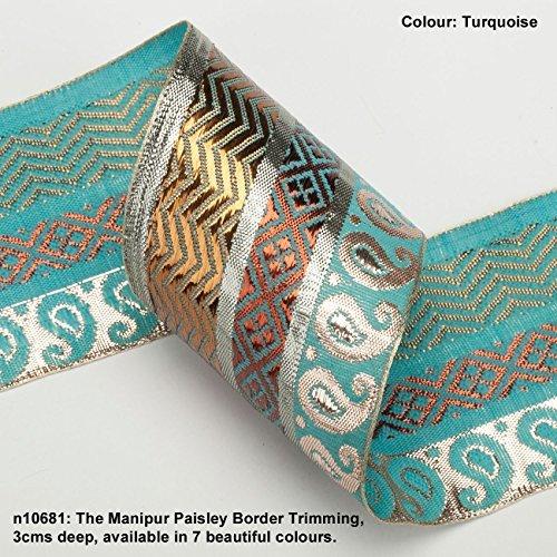 Neotrims Bollywood Kostüm Paisley Band mit Antik Metallic Gold, Silber und Kupfer Gewinde, Set gegen ein verträgen leuchtend Viskose Paisley Hintergrund, eine Spektakuläre Effekt Verzierung in einer breiten 70mm (7cms) (China Kostüm Antike)