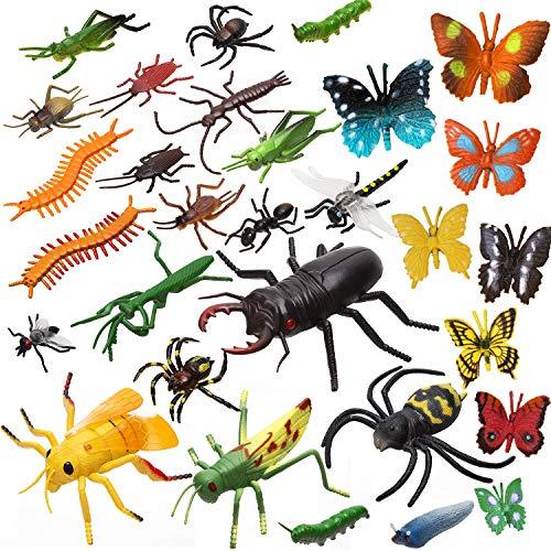 chte Insekten Figuren Spielzeug gefälschte Spinnen, Kakerlaken, Grillen, Schmetterlinge, Würmer und mehr bunte lebensechte Insekten für Kinder-themenorientierte Partei Halloween Bevorzugungen ()