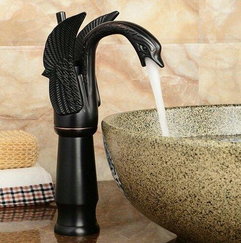Weiße Holz-eitelkeit-set (HJ-Kontinentale schwarz Kupfer Bronze Schwäne Toilette Wasserhahn Armaturen für warmes und kaltes Becken Eitelkeit waschen Waschtischarmatur)