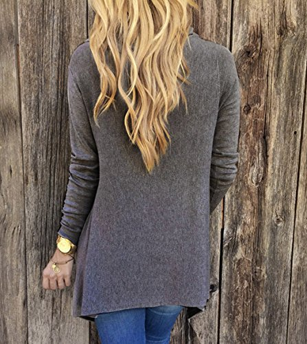 Damen Langarm Asymmetrisch Hemd Rundhals Shirt Bluse Loose Casual Damenbluse Tops Oberteil mit Quaste Grau