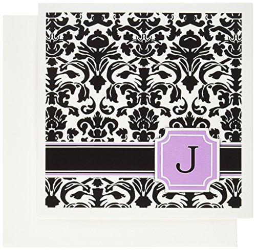 3drose Persönlichen Initiale J Monogramm Pink Schwarz und Weiß Damast Muster Girly Stilvolle Personalisierte Brief Grußkarten, Set 6(GC _ 154385_ 1)