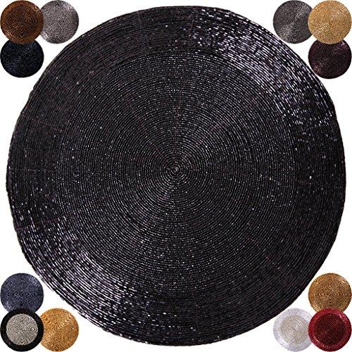 2er Pack Glasperlen Tischset handgefertigt Ø36cm Auswahl: schwarz - jetblack (Tisch Decken Runde Schwarze)