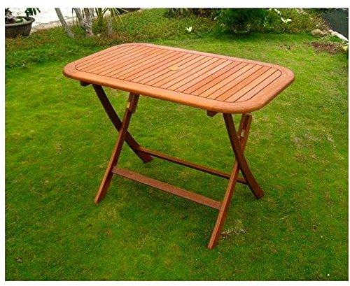 Amicasa. Table de Jardin Pliante en Bois rectangulaire 120 x 70 cm Vigo