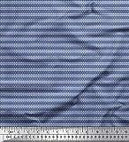 Soimoi Blau Viskose Chiffon Stoff Stripe & Geometric-Skala