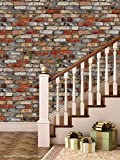 PPD Brick Wallpapers. High Quality Stone Brick Wall Effect Pre Gummed Wallpaper (Self Adhesive) (3 Tiles / 5.5 SqFt)