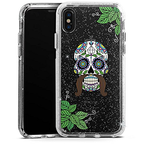 Apple iPhone 8 Bumper Hülle Bumper Case Schutzhülle Männer Totenkopf Tattoos Schädel Bumper Case Glitzer silber