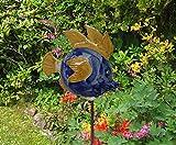 Garten Dekoration Fisch Keramik Ianassa blau, orange, sand, Größe: ca 21 cm hoch, ca 25 cm lang, ohne Eisenstange