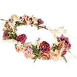 Ever Fairy Diadema de flores para mujer, corona de flores, corona de flores, para bodas, fiestas