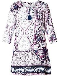 cac8278683d8bc Folklore Tunika Damen lang Blumenmuster elegant 3/4 Ärmel große Größen Lila  Blau Weiß von Yesta Shirt Oberteil…
