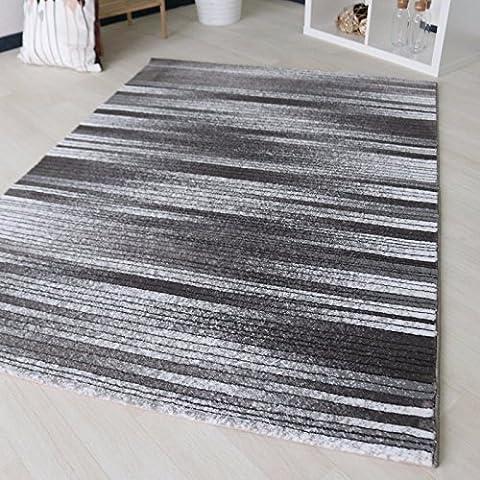 Teppich Kurzflor Modern in Schwarz Weiß Liniert meliert mit gestreiftem