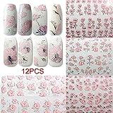 Wildlead 12 fogli / set adesivi per unghie 3D fiori decalcomanie modellato arte fai da te adesivi manicure unghie decorazione