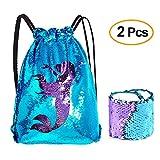 Kuuqa Sequin Mermaid Borsa e Bracciale con Coulisse Zaino Sportivo Magic Reversibile Sequin Glitter Wristband Palestra Borsa a Tracolla per Donne Bambina Bambino Feste di Compleanno Regali, Blue Purple