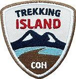 Club-of-Heroes 2 x Abzeichen gestickt 55 x 58 mm/Island Trekking/Iceland Outdoor, Wandern, Reise/hochwertig Gestickte Applikation Aufnäher Aufbügler Flicken Bügelbild Patch für Kleidung und Rucksack