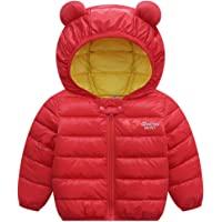 Bébé Hiver Manteau à Capuche Enfant Veste Manches Longues Léger Blousons Rouge 80cm