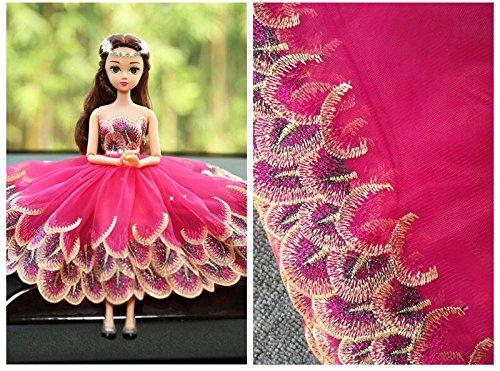 Spitzenbesatz Blumen Brautschmuck/Hochzeit Kleid bestickt Stoff Tischdecke Puppen Kleidung DIY Crafts Scallop Trim Applikation Kleidung Vorhänge 20cm breit 10Yards alt01 hot pink
