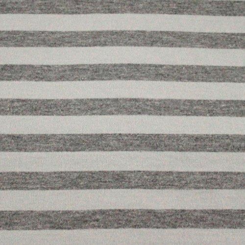 Neumann Handelsvertrieb Jersey Stoff 90% Baumwolle 175 cm Breit (100 x 165 cm, Grau Graumeliert Gestreift)