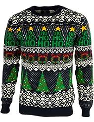 Threadbare Homme 'Papier d'emballage de Noël' drôle LED Lumières Xmas tricoté Pull