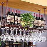 FENGFAN Casier à vin en fer forgé antique de ménage, porte-gobelet réglable en...