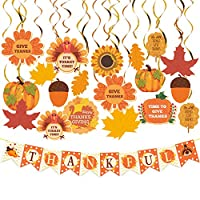 """Dazonge Thanksgiving Decorations Kit   Includes 1""""Thankful"""" Banner, 22 Pack Hanging Swirls with Decorative Cutouts   Thanksgiving Party Supplies   Fall Decorations"""