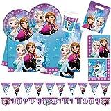 Procos Servizio da Tavolo monouso per Festa, 10110970b, con Motivo Disney Frozen Northern Lights, Formato XL, 52Pezzi