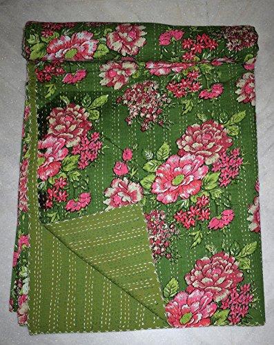 Asian-queen-size-quilt (Tribal Asian Textiles Indian Queen Size Kantha Tagesdecke Handmade Quilt Überwurf Bettwäsche floral Decke)
