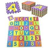 Juskys Kinder Puzzlematte 36 –Teilig aus Rutschfestem Eva-Schaumstoff – Kälteisolierender Kinderspielteppich mit Buchstaben von A bis Z & Zahlen von 0 bis 9