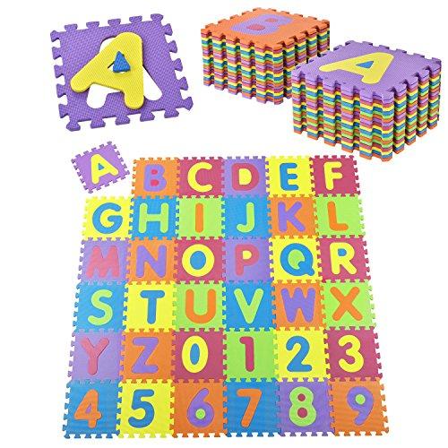 Juskys Kinder Puzzlematte 36 -Teilig aus Rutschfestem Eva-Schaumstoff - Kälteisolierender Kinderspielteppich mit Buchstaben von A bis Z & Zahlen von 0 bis 9