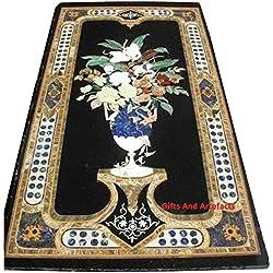 """Negro Mármol 60""""x 30"""" diseño de maceta con flor cocina tablero de la mesa con decoración del hogar Tema"""
