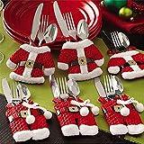 Mbuynow® Insieme di 6 Babbo Natale Vestito di Tasche Porta Posate