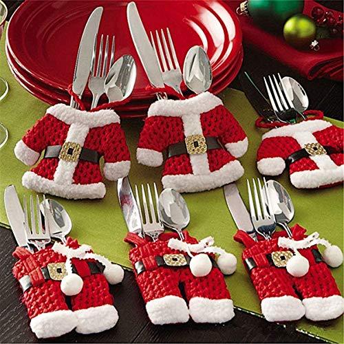 Mbuynow 6pcs Porte-Couverts Serviette Couteaux Fourchette Cuillère en Forme de Costume Père Noël Mignon pour Décoration de Cuisine Table Réveillon Noël (3 Vestes 3 Pantalons)