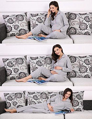 Untlet Damen Stillpyjama für Schwangere Maternity Nursing Nachtwäsche Set Grau
