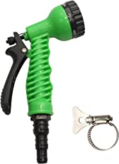 AquaHose 7 Function Water Spray Gun Set Green for Irrigation - Universal Fitting with Butterfly Clamp