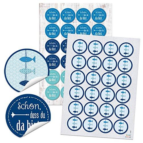 Preisvergleich Produktbild 48 blaue Aufkleber (24 Fische + 24 Schön, dass Du da bist) - 4 cm rund (11170-11734)
