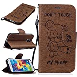KKEIKO Galaxy S5 Case [With Free Tempered Glass Screen Protector], Elegant Flip Case