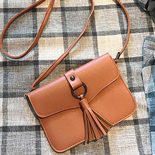 BZLine® Frauen Leder Handtasche Quaste Umhängetasche Tasche Tote, 19cm*1cm*14cm Braun