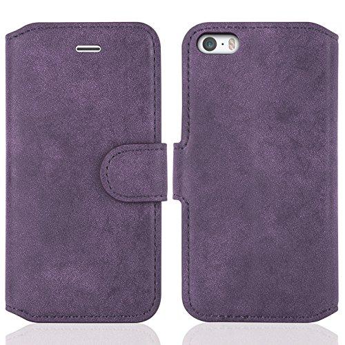 JAMMYLIZARD Lederhülle für iPhone SE und iPhone 5 / 5s | Ledertasche [ Wallet Tasche Series ] Wild-Leder Book Case Hülle Flip Cover Schutzhülle mit Kartenfach, Lila