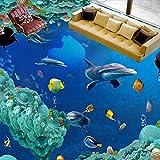 Mbwlkj Benutzerdefinierte Unterwasser Welt, Delphin 3D-Boden Im Badezimmer Wandbild Anti-Rutsch-Verdickte Wohnzimmer Wallpaper-150Cmx100Cm