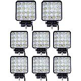 Leetop 8 pezzi Impermeabile IP67 LED 48W Faro Spot Lampada da Lavoro Faro Fendinebbia Trattore Escavatore Fendinebbia