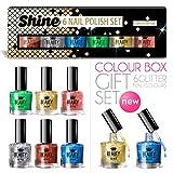6 x Luxury Nail Polish 6 Different Glitter Colours Shine Gift Box High Quality