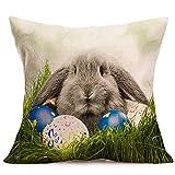 Baumwolle und Leinen 43×43 Freizeit Kissenbezug Ostern Schutzbezüge Kaninchen Print...