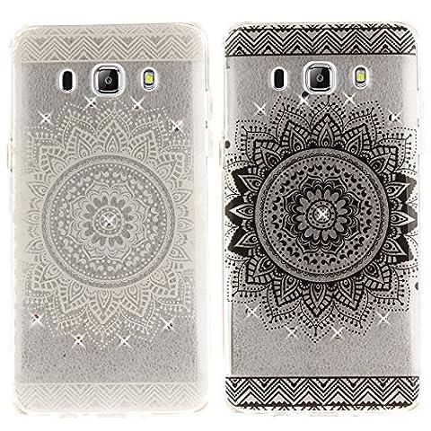 CLM-Tech 2 x TPU Housse Silicone Gel pour Samsung Galaxy J5 (2016) Coque de Protection avec strass fleur noir blanc transparent