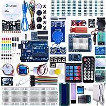 Elegoo Conjunto Avanzado de Iniciación a Arduino UNO con Guías Tutorial en Español y Conjunto de Arduino UNO R3, a Demás de Relé de 5V, Modulo de Fuente de Alimentación,Pantalla LCD1602, Servomotor, Motor Paso a Paso, Placa de Desarrollo de Prototipos, etc.