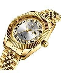 Para hombre oro acero inoxidable relojes hombres de lujo 30 m impermeable calendario FECHA Rhinestone Funda reloj de pulsera unisex para hombre Business Casual Fashion analógico Dress Cuarzo Reloj par